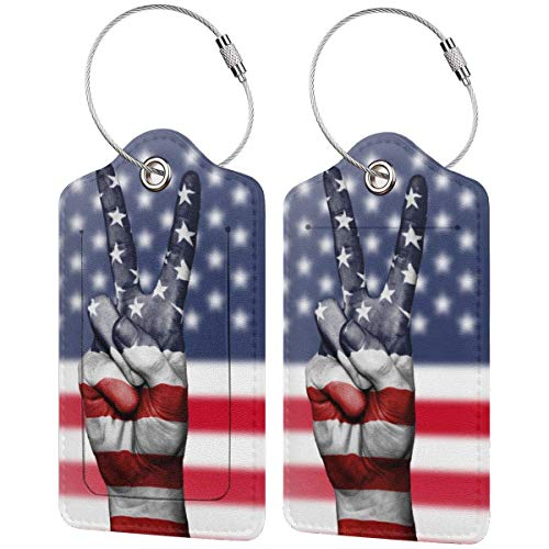 Buntes Kätzchen, amerikanische Flagge, V Gestenlage Tags, Tasche, PU-Leder, Koffer-Etiketten, Design, Reisen mit Sichtschutz, mit Stahlschlaufen