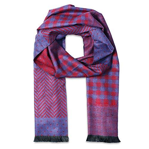 Heren Luxe Winter Sjaals Met Patchwork Patroon Nek Warmer Reizen Hoofd Wraps