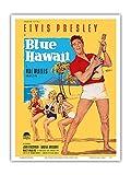 Elvis Presley in Blue Hawaii - Vintage Film Movie Poster by Rolf Goetze c.1961 - Master Art Print 9in x 12in