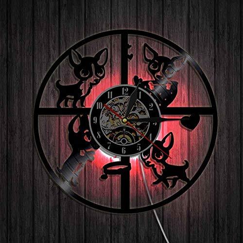 Reloj de pared vintage de vinilo LP Record 3D encantador chihuahua razas de perro, cachorro, guardería, arte de pared, decoración de animales, relojes de pared modernos LED luces