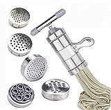 Máquina manual para hacer pasta de acero inoxidable para hacer espaguetis y lasaña, rodillo cortador de pasta (1 x fabricante + 5 moldes)