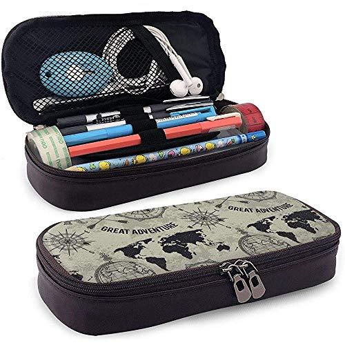 Weinlese-Kugel-Kompass-Weltkarte-Bleistift-Kasten PU-Leder-Bleistift-Beutel-Briefpapier-Multifunktionsmake-upbeutel-Halter