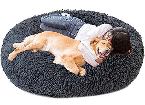 LINRUI Memory Foam XL Hundesofa Orthopädisches für Grosse Mittlere Hunde Hundekissen Waschbar Oval Hoch Hundebett Antistress Flauschiges Rund Kuschelig Hundehöhle XXL Donut Dunkelgrau
