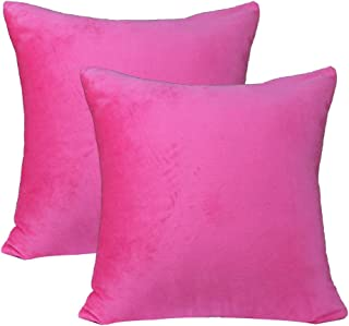 sykting Decorative Throw Pillow Covers for Couch Bed Super Soft Short Plush Solid Cushion Covers 18 x 18 Inch 45 x 45 cm Pack of 2 Hot Pink