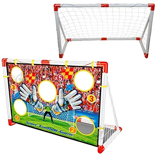 Inside Out Toys Kids Garden Football Target Goal 2 in 1 Football Goals Football Net and Target Goal Nets GREAT SIZE 12m wide x 08m tall