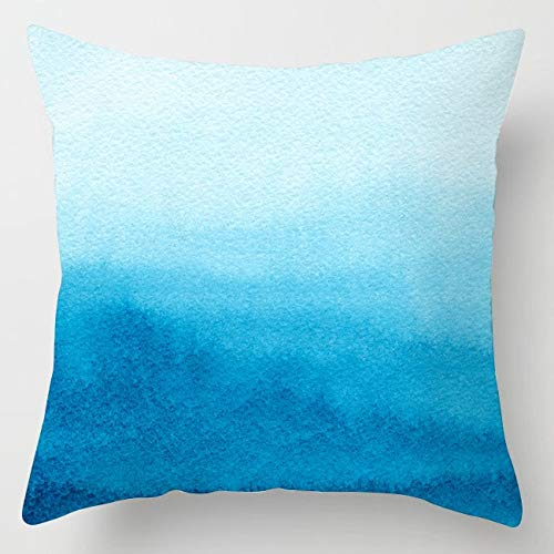 PPMP Funda de cojín de ágata de mármol Intermitente Funda de cojín Decorativa de sofá de Flores geométricas Azules A9 45x45cm 1pc
