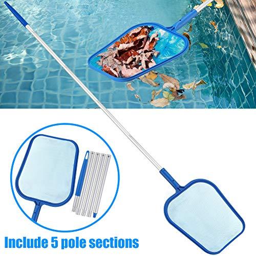 KOOLEAN Recoge Hojas Recogehojas para Piscinas Skimmer de Piscina Poste de Aluminio telescópico Pool Skimmer Net para Recoger Hojas y Suciedad del Fondo