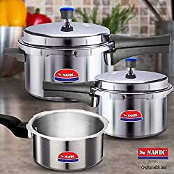 Nandi Super Cooker Combo 2L, 3L And 5L, Non-Induction Base, Aluminium