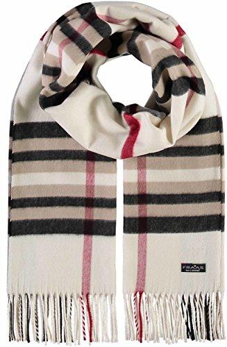 FRAAS Schal kariert für Damen & Herren aus reinem Cashmink® - 53 x 200 cm - Weicher als Kaschmir - Kariertes Plaid für den Winter - Karo-Schal Made in Germany Weiß