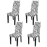 PiccoCasa 4pcs Stretch Dining Room Chair Cover Removable Washable Floral Printing Chair Slipcover for Kitchen Living Room White and Black