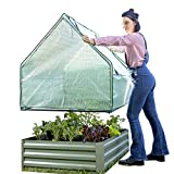 Danjani Outdoor Raised Garden Bed with Drop Over Greenhouse - Durable, Anti-Rust Steel Flower Beds - 71.3 Gal Planter Box Capacity for Nourishing Herbs, Vegetables and Fruits- Gifts for Gardeners
