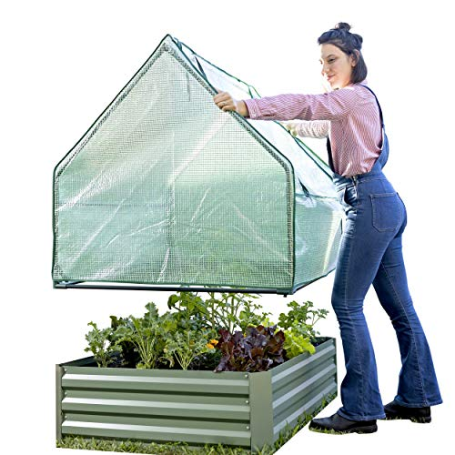 Outdoor Raised Garden Bed with Drop Over Greenhouse