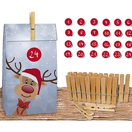 JEMIDI Adventskalender zum befüllen Groß Weihnachtskalender Bastel Kalender (Rentier)