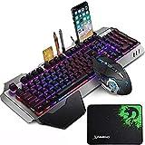 LexonElec Juegos de teclado y mouse para juegos K618 con cable RGB LED retroiluminado 104 teclas Resto de la mano Usb Gamer Teclado Metal + 2400DPI Optical 6 botones PC Game Mouse + Mousepad