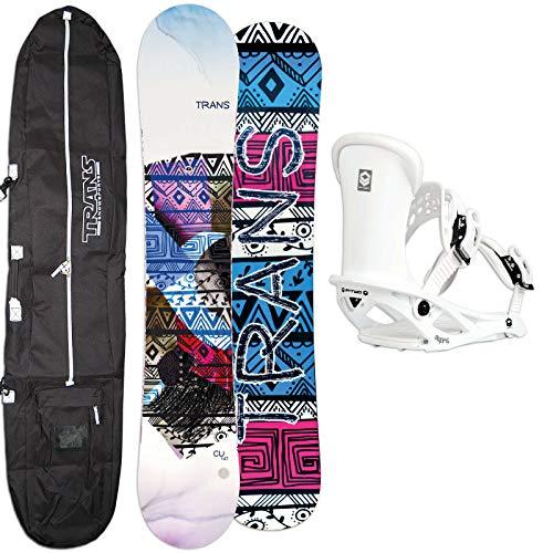 Trans Damen Snowboard Set CU White 146 cm 2021 + FTWO Pipe BINDUNG GR. M + Bag