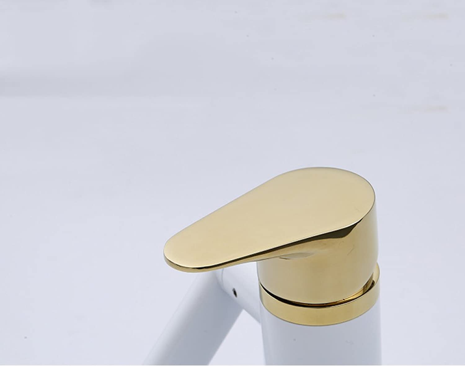 GZF Bathroom Sink Taps Faucet white + gold basin hot and cold single hole tap European above counter basin Maneki faucet