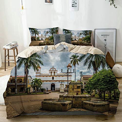 MANISENG Bettwäsche-Set,Beige,Reisen Sie Maya-Stadt mit Palmen drucken,1 Bettbezug 240x260 + 2 Kopfkissenbezug