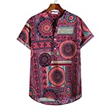 Overdose Camisetas T Shirt Hombre Henley De Manga Corta Impresas De Lino para Hombres Tie Summer Tops étnico Divertidas Ibicenca Vestir Flores