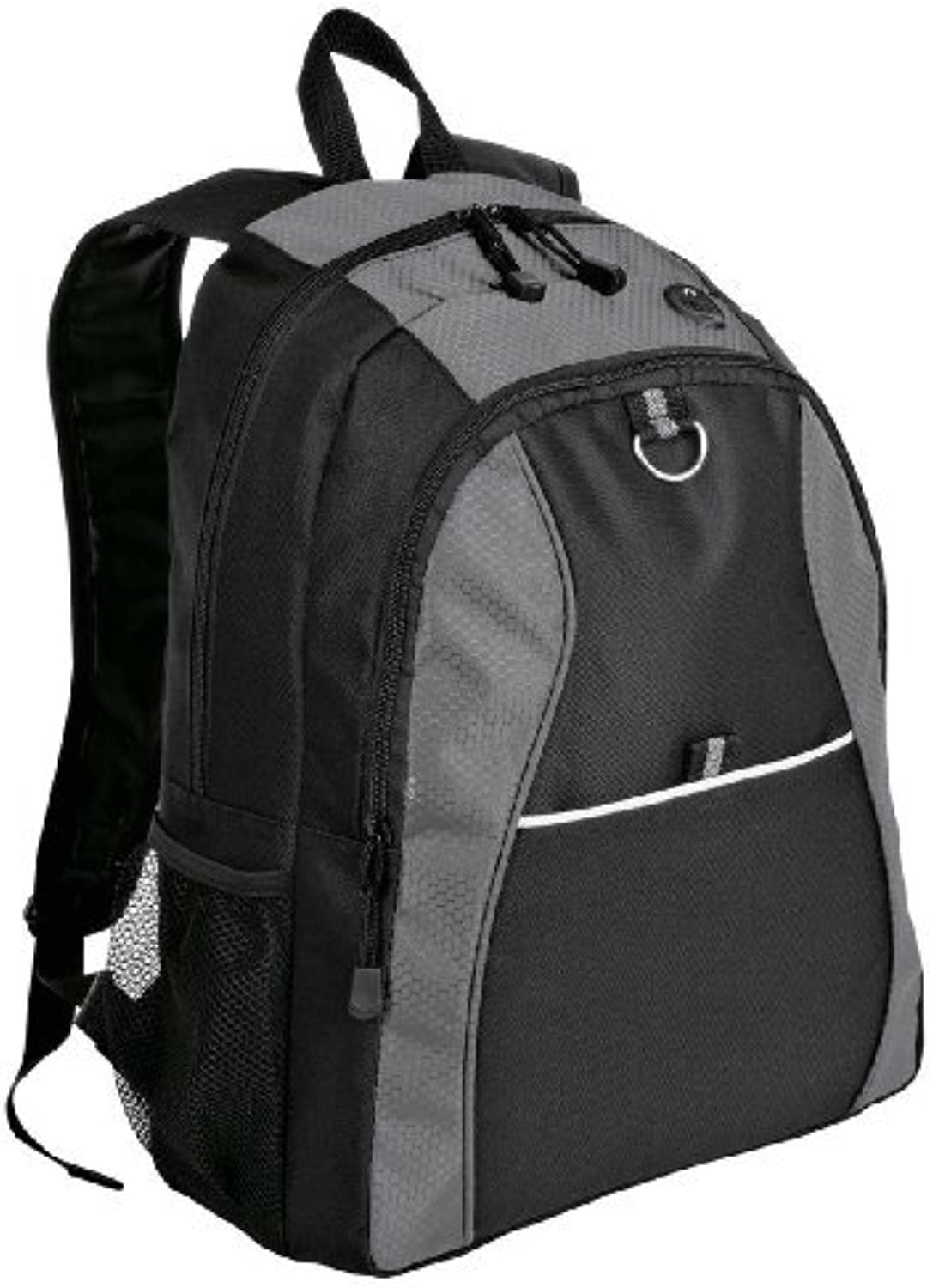 Port & Company Improved Contrast Honeycomb Backpack Bag (Grey Black) by Port & Company
