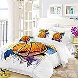 Oliven 3D Bedding Full Size,Colorful Basketball Duvet Cover Set 3 Pcs Kids Bedding
