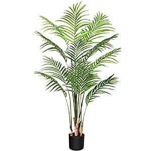 Silk Flower Arrangements CROSOFMI Artificial Areca Palm Plant 5.5Feet Fake Palm Tree with 15 Leaves Faux Yellow Palm in Pot for Indoor Outdoor House Home Office Modern Decoration Perfect Housewarming Gift