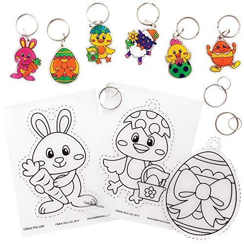 Baker Ross AT527 Easter Super Shrink Keyring Kits - Pack of 8, Craft Set...