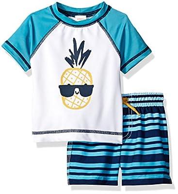 Gymboree Toddler Boys' 2-Piece Short Sleeve Rashguard Set, Pool Blue Ombre, 18-24 mo