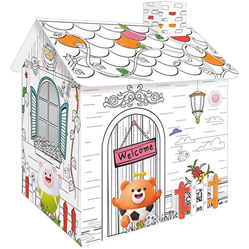 JW-MZPT Kit de cartón de cartón Corrugado Premium Plegable para niños niño al Aire Libre Interior DIY Pintura imaginación Juguete Juego casa