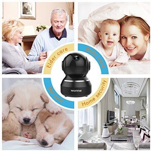 WONNIE Wireless IP Camera 1080P, WiFi Home Surveillance Security Camera for Baby/Elder/Pet/Nanny Monitor, Pan/Tilt, Two-Way Audio & Night Vision(Black)