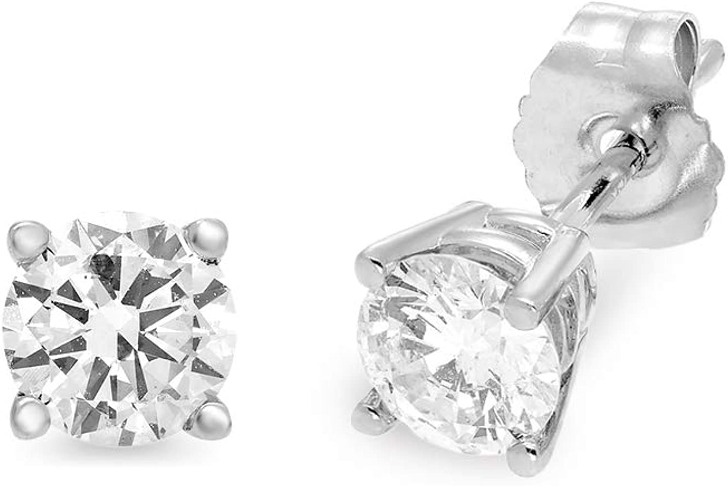 Jewelili 14K White Gold with 1/2 CTTW Round Diamond Stud Earrings