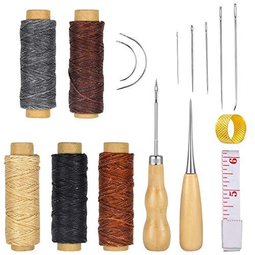 16pcs Hilo Encerado de Cuero 5 Color 274 Yardas 150D Cordón de Hilo de Coser de Cuero con Cuero Craft Kit de Herramientas de Mano para DIY Craft de Costura