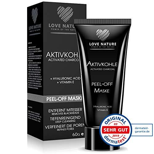 Love Nature schwarze Aktivkohle Peel-Off Maske mit Hyaluronsäure| Blackhead Maske |Porenreiniger | Mitesserentferner | Gesichtsmaske Black Mask (60ml)