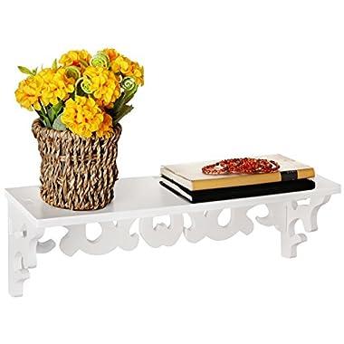 16 Inch Elegant White Decorative Wall Mounted Floating Storage Display / Book Shelf / Utility Rack