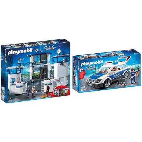 Playmobil 6919 - Stazione della Polizia con Prigione + Playmobil 6920 - Auto della Polizia