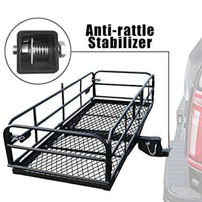 "OKLEAD Hitch Mount Cargo Carrier 60"" x 24"" x 14.4"" Folding Cargo Rack Rear Hitch Tray Luggage Basket with 500 LB Capacity Fits 2"" Receiver for Car SUV Pickup"