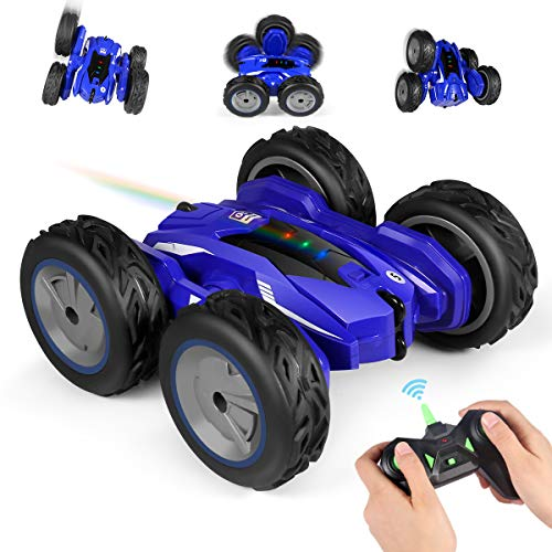 RC Car, 4WD Monster Remote Control Stunt Car with Double Sided 360°, 2.4GHz Off-Road High Speed Rock Crawler Vehicle with Headlights for Kids