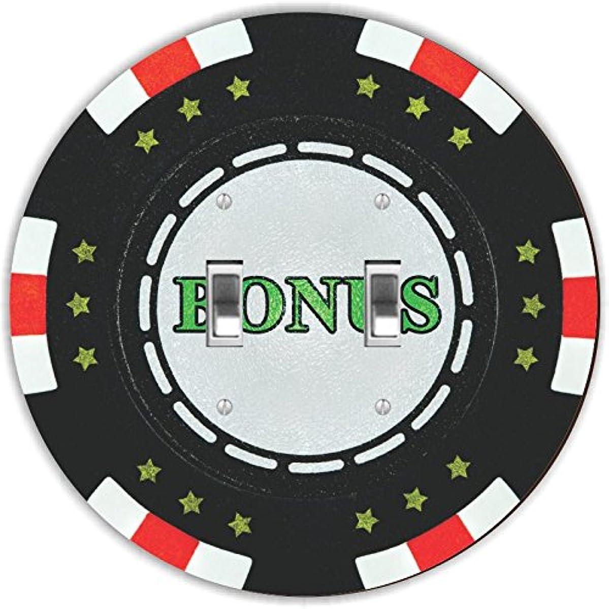 Rikki Knight RND-LSPDBL-102 Bonus Poker Chip Round Design Double Toggle Light Switch Plate