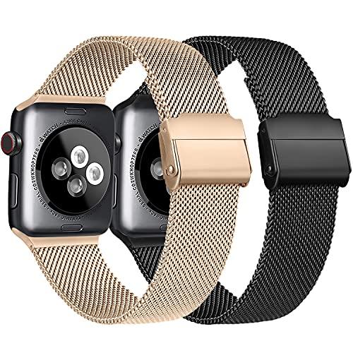 Meliya Cinturino Compatibile per Apple Watch Cinturino 44mm 42mm 40mm 38mm Series 6 5 4 3 2 1 SE, Cinturino in Metallo Maglia Milanese a Acciaio Inossidabile Cinturini (2Oro rosa+Nero, 38/40mm)