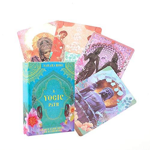 54 Stück Tarotkarten, Eine Yogapfad-Orakelkarte, Spielzeug-Tarot-Wahrsagerei Alte Yogische Weisheit, Englisch, Brettspiele Party Tarotkarten Spielen Familienspiel