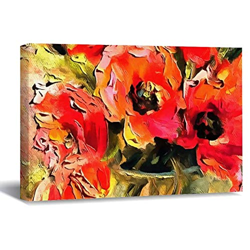 Poppies In A Glass Vase Black Outline Canvas Picture Painting Artwork Wall Art Poto Framed Canvas Prints for Bedroom Living Room Home Decoration, Ready to Hanging 16'x24'
