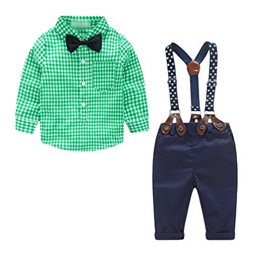 Heheja Bambino Ragazzo Manica Lunga Camicia di Plaid & Casual Pantaloni di Cablaggio 2 Pezzi Suit