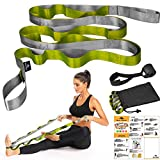 Yoga Strap, Stretch Strap with 12 Loops, Nonelastic Stretch Bands for Exercise, Physical Therapy, Pilates, Dance and Gymnastics, Extra Thick, Durable, Comes with Travel Bag and Door Anchor-Army Green