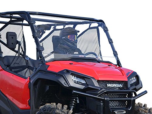SuperATV Heavy Duty Scratch Resistant Full Windshield for Honda Pioneer 1000/1000-5 (2016+) - Clear - Hard Coated for Extreme Durability - Installs In 5 Minutes!