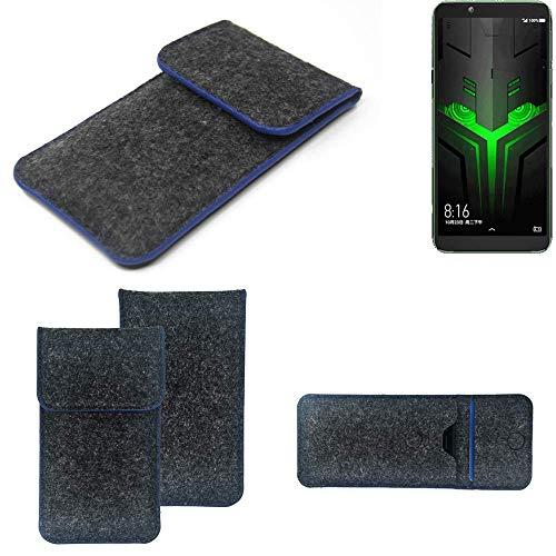 K-S-Trade Filz Schutz Hülle Für Xiaomi Blackshark Helo Schutzhülle Filztasche Pouch Tasche Hülle Sleeve Handyhülle Filzhülle Dunkelgrau, Blauer Rand