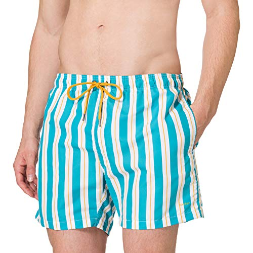 Skiny Herren Shorts Maillot de Bain, Aquablue Stripes, XXL Homme
