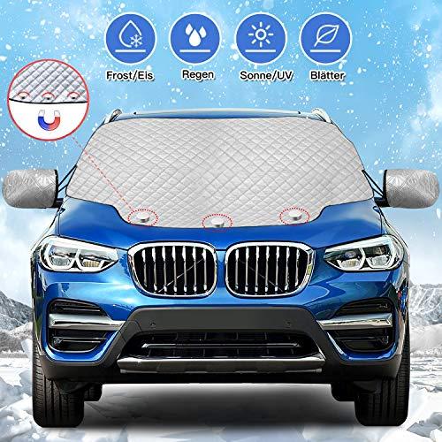 Karvipark Auto Frontscheibenabdeckung, Magnetisch Windschutzscheibe Abdeckung mit Seitenspiegelabdeckung, Frontscheibe für Winter Schneeabdeckung und Scheibenwischer UV-Schutz SUV Modell (157×126cm)