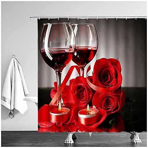 Copa de Vino Tinto Taza de Cerveza Cortina de Ducha Personalidad Creativa Copa de champán Rosa Celebre Cortinas de baño Bañera 180 x 180 cm (71X71 Pulgadas)