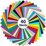 Wishesther 40 Hojas Vinilo Adhesivo 30 x 30cm 40 Colores Láminas de Vinilo Manualidades para Impresion y Corte Plotter Cricut Silhouette Cameo