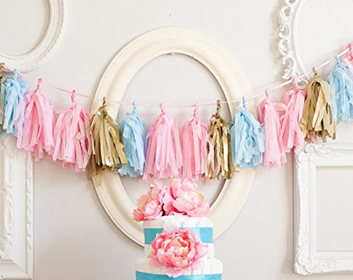 16 X Originals Group Baby Pink Blue Gold Tissue Paper Tassels for Party Wedding Gold Garland Bunting Pom Pom