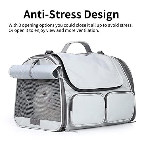 FUKUMARU Cat Carrier Approuvé par la compagnie aérienne, transporteurs respirants à parois souples pour petits chiens et chiots, transporteur de voyage pliable pour petits animaux de compagnie, adapté aux animaux jusqu'à 16 lb, gris